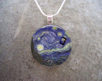Doctor Who Jewelry - Vincent Van Gogh - Starry Night - Glass Pendant Necklace