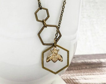 Honey Bee Honeycomb Necklace, Beehive Necklace, Antique Brass Hexagon Necklace, Bee Jewelry, Gift For Her