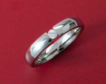 Stunning Titanium Tension Set Ring with White Sapphire- 4D-white sapphire tension
