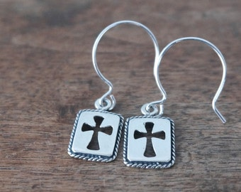 Sterling Silver Cross earrings, Simple Modern Cut out Cross,  Religious Gift for Her (168E)