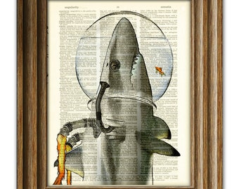 Space Shark. Captain Jose of the Space Patrol and hitchhiker in a space helmet illustration upcycled dictionary page book art print