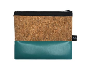 Pb_pochette Small, Turquoise and cork leather clutches, handmade, purses, glove holder, tricks
