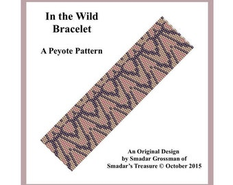 Peyote Bracelet Beading Pattern, 2 Drop Odd Count Peyote Stitch / In the Wild Bracelet / Off Loom Abstract Pattern Instant Download PDF