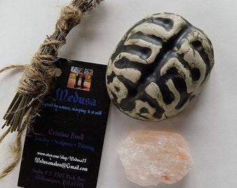 Brain Bowl Lavender Smudge Set with Pink Halite (Himalayan Salt) Ego Bowl