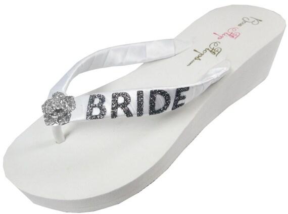 Embellishment Flip Flops or Bride choose Lace White Colors Silver Ivory Rhinestone Flip Flops Wedding Glitter Wedge Many 1aFCqv
