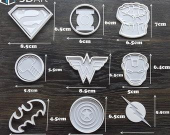 Super Hero Cookie Cutter Mold Fondant Biscuit Decor Cupcake Marvel Set 3D Printed Superheroe Party Black Panther Deadpool Transformer Shield