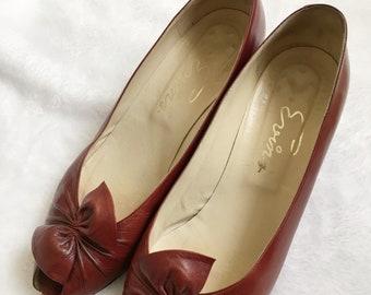Vintage Evins Red Peep Toe Heels | Mid Century Shoes 1950s | Size 8