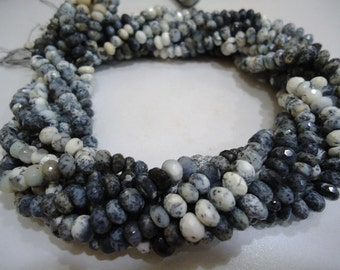 Pack of 1 Dendrite Opal Stone Faceted Machine Cut Roundel Beads Shape Size 8 To 9  mm String Lenth Is 15'' inch Total 8 Strings