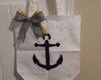 Anchor stenciled tote with bow, nautical tote, tote, stenciled tote
