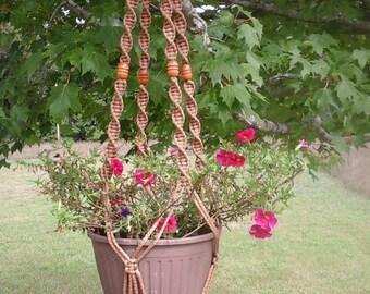 "Large ""Pretty Twisted"" Macrame' Plant Hanger (Fancy Top), Large Macrame' Pot Hanger"