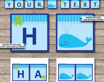 Under the Sea Party Banner - Happy Birthday Banner - Custom Banner - Under the Sea Party Decorations - INSTANT DOWNLOAD with EDITABLE text