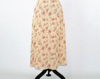 Silk Skirt Floral Chiffon Skirt Women Small Petite Romantic Boho Skirt Spring Skirt Summer Skirt Size 4 Skirt Ralph Lauren Womens Clothing