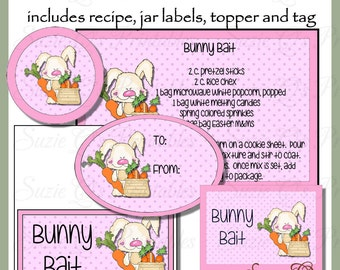 Bunny Bait Gift Set - Jar Labels, Bag Topper, Tag and Recipe - Digital Printable Kit - Great Gift Idea - Immediate Download