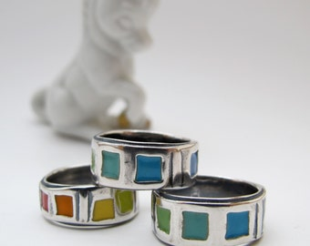 Rainbow Wedding Band Set - Sterling Silver and Vitreous Enamel Band Rings with Rainbow Colors