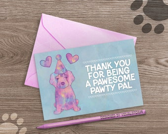 Cute Puppy Thank You Card Watercolor Puppy Party Thank You Notes Golden Retriever Printable Dog Cards Digital Puppy Birthday Greeting Card