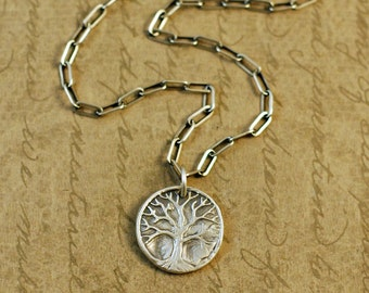 Precious Metal Clay, Fine Silver Tree of Life, Family Tree Charm Pendant Necklace, sterling silver, long box cable chain, rustic, bytwilight