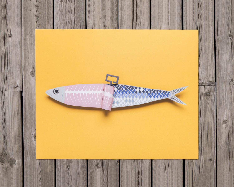 Paper Art Sardine Print Papercraft Sardine papercut 3d