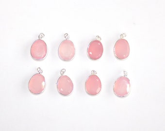Rose Chalcedony Charms in .925 Sterling Silver