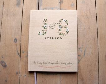 Floral Wedding Guest Book, Monogram Guest Book, Boho Wedding Guest Book, Personalized Guest Book for Polaroids, Bridal Shower Guest Book