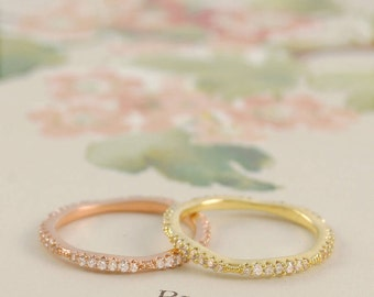 Gold Ring - Engagement Ring - Diamond Ring - Wedding Band - Stackable Ring - Rose Gold Ring - Silver Band Ring - Topaz Ring - Eternity Ring