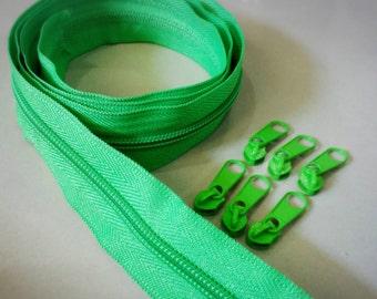 3 Yards  Zipper #5 with Free 6 Pulls, Neon Green Zipper by the Yard, Zipper # 5, Zipper by the Yard.