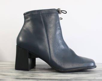 1990s Moody Blue leather ankle boots / 90s chunky block heel ankle boots / Brazilian leather / 10