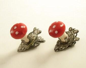 Vintage Christmas Ornaments Clip On Mushrooms