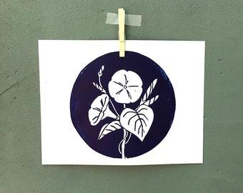 Morning Glory Linocut Print