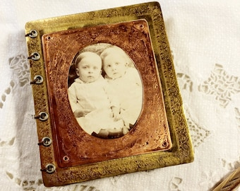 Mini Journal Etched Brass Antique Twin Babies Picture - Free Domestic Shipping