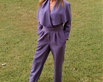 Vintage Polyester Belted Jumpsuit - Size Small/Medium