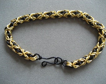 Gold and Black  Byzantine Bracelet