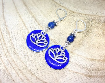 Meditation with Agate and lotus flower earrings