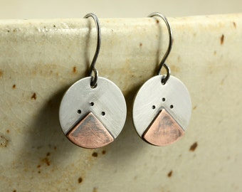 Aged Silver Disc Earrings with Copper Triangle Overlay, Aged Copper Earrings, Aged Silver Earrings, Rustic Earrings, Mixed Metal Earrings