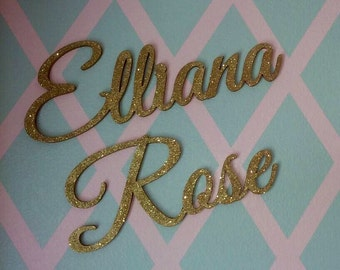 Gold Glitter Connected Wall Letters Wood Wall Decor Baby and Kids Room Decor Elegant Script Wooden Name Sign