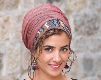 Rothem Authentic Headscarf TICHEL, Hair Snood, Chemo Snood, Head Scarf, Umber Head Covering, Jewish Headcovering, Scarf, Bandana, Apron