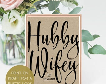 Hubby Wifey, Gift For Her, Gift For Him, Anniversary Gift, Personalized Wedding Gift, Rustic Wedding, Bridal Shower Gift, # IDWS817_04C