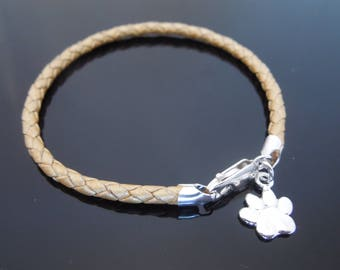 3mm Gold Braided Leather Bracelet With 925 Sterling Silver Dog's Paw Dog Lover's Charm