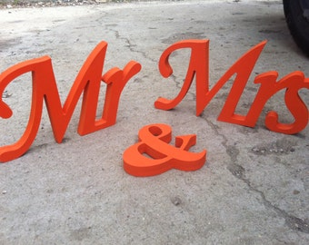 Orange Mr. & Mrs. letters wedding table decoration, freestanding Mr and Mrs signs for sweetheart table