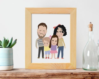 Custom digital caricature, family cartoon portrait