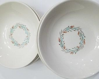 Canonsburg Pottery Wheat Wreath Dessert Bowls