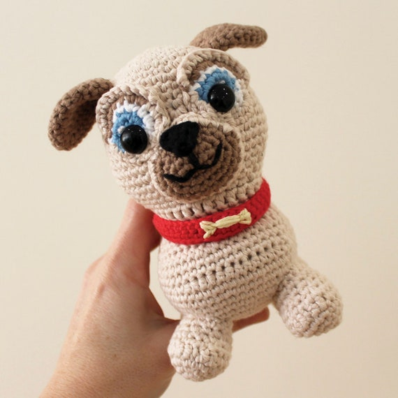Rolly - Toy. Puppy Dog Pals Crochet Toy, Dog Crochet, Made to Order, Puppy Doll, Pug, Pugster, Nursery Crochet, Kids Gift, Dog Toy, DIY