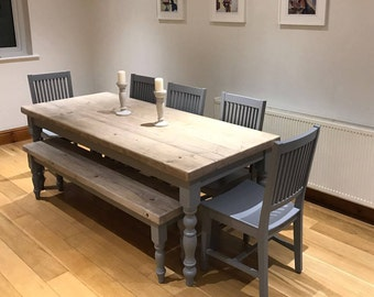 Farmhouse Dining Table With Reclaimed Wood Top And Matching Bench Made To Measure Custom