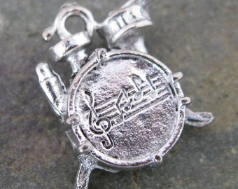 Drum Set Charms Interment Charms Jewelry Findings Antique Silver 1294 - 6 pieces