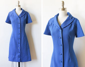 60s blue polka dot dress, vintage mod dress, vintage 70s mod scooter dress, medium large m/l