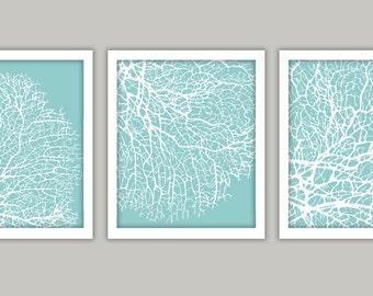 "Seabreeze Blue Coral Art Print, Set of 3 8x10"" Printable"