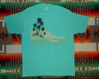 80s Hawaii Palm Trees T Shirt Size Large