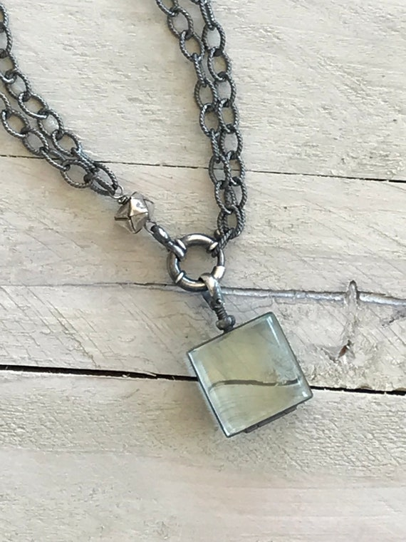 Amelia. Oxidized sterling locket on oxidized sterling rope chain. Wear long or short or without locket. OOAK by ladeDAH!