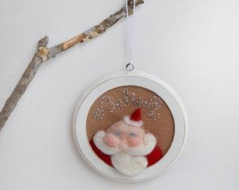 Whimsical Santa - Felted Santa - Santa Ornament - Whimsical Ornament