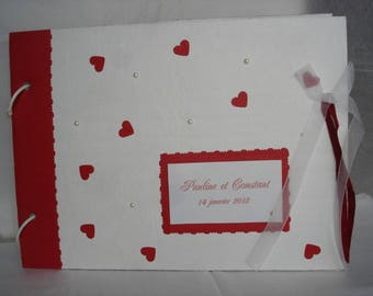 Red and white wedding guest book