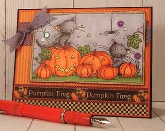 Handmade Halloween Card, Handmade greeting card with hand stamped and colored image of two blacks cats in a pumpkin patch, fall card, autumn